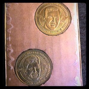 Martin Brodeur and John LeClair hockey coins
